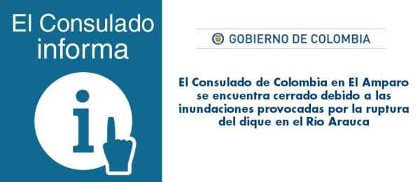 Consulado de Colombia en El Amparo se encuentra cerrado debido a las inundaciones provocadas por la ruptura del dique en el Río Arauca
